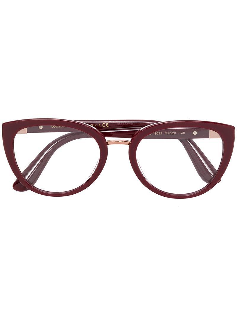fa672175513 Dolce   Gabbana Eyewear Oval Frame Glasses - Red. Farfetch
