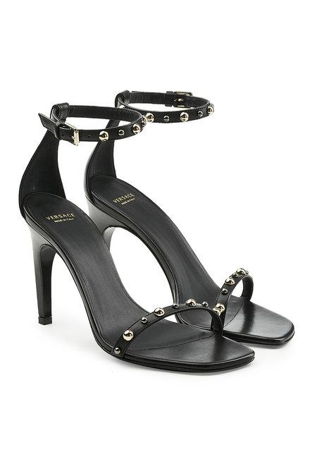 Versace Embellished Leather Sandals In Black