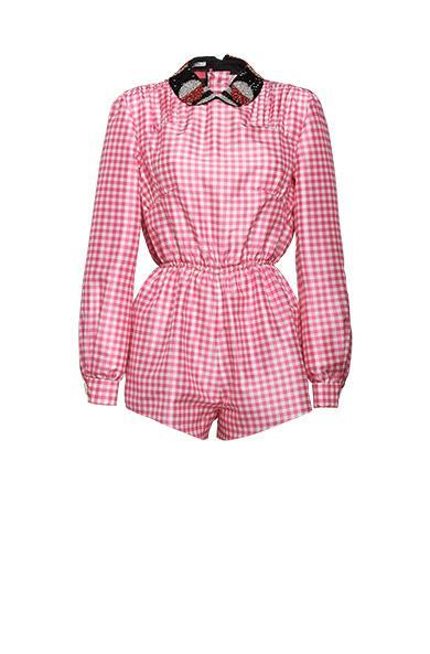 d687bcd22f Miu Miu Printed Taffeta Jumpsuit With Detailing In Pink