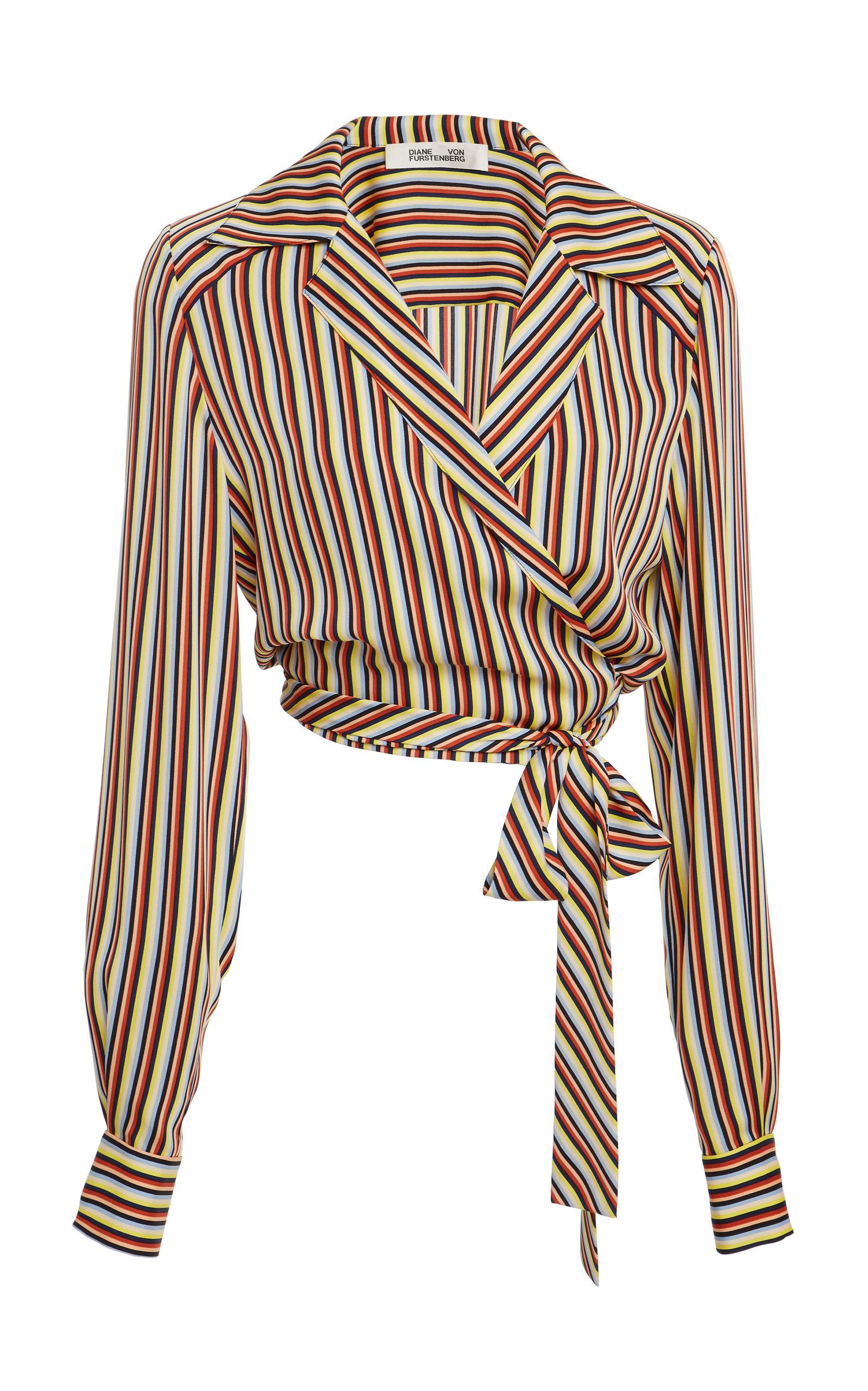 af30589bbd5f47 Diane Von Furstenberg Long Sleeve Deep V Wrap Blouse In Stripe ...