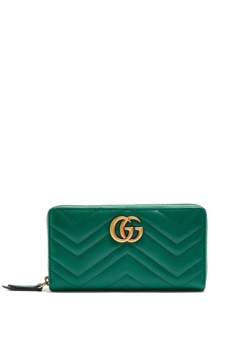 3ca482e7db71f6 Gucci Gg Marmont Quilted-Leather Wallet In Colour: Emerald-Green ...