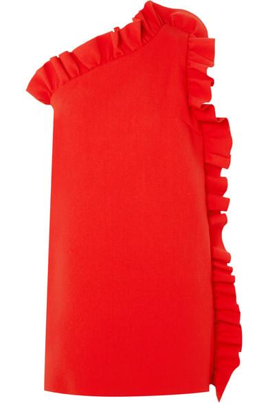Msgm One-Shoulder Ruffled Crepe Mini Dress In Red