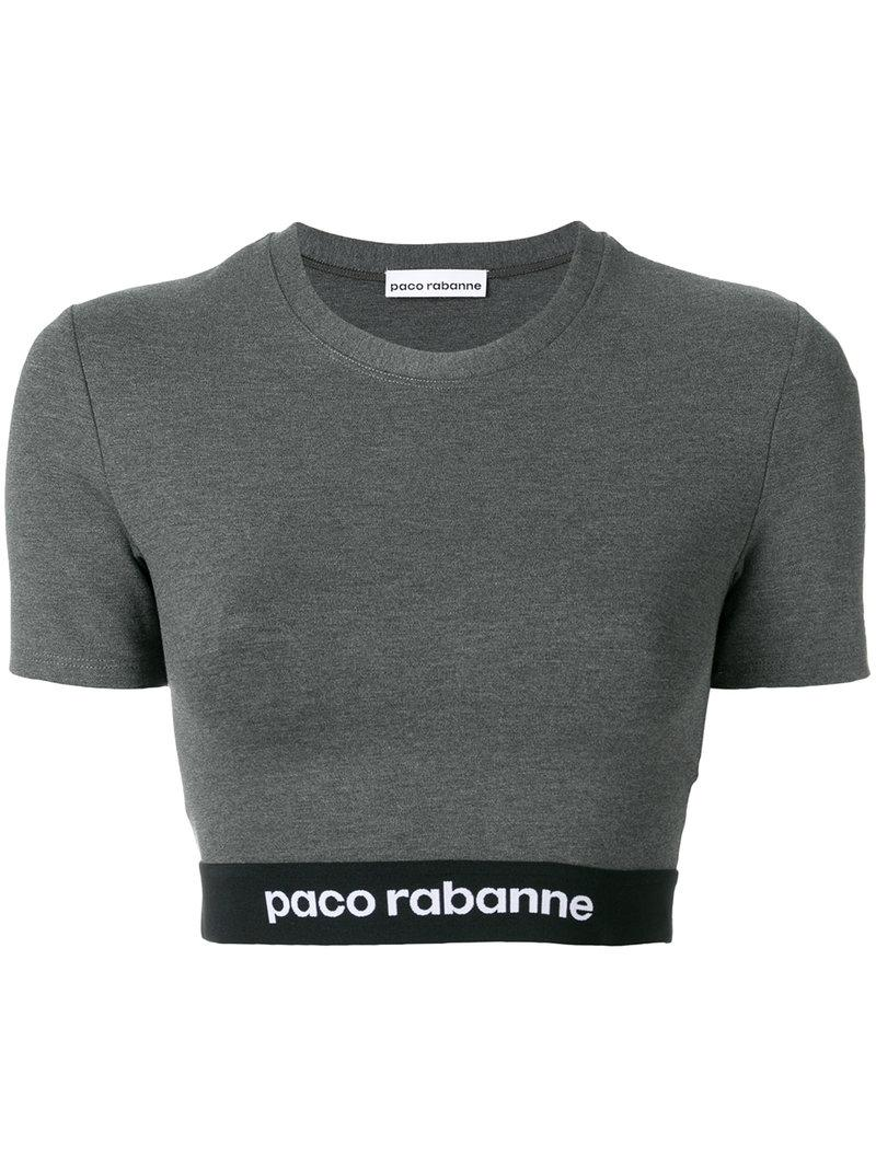 Paco Rabanne Logo Print Cropped T In Grey