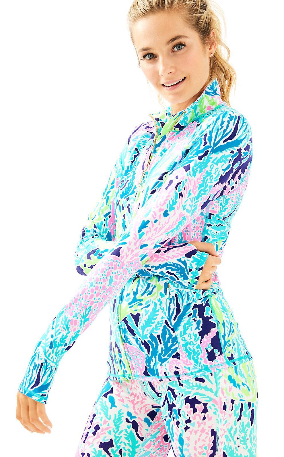 82d192329649e Lilly Pulitzer Womens Luxletic Serena Jacket In Seaside Aqua Lets Cha Cha