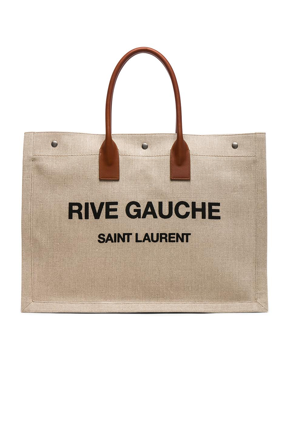 488414d932 Saint Laurent Large Canvas   Leather Rive Gauche Noe Tote In Natural   Black