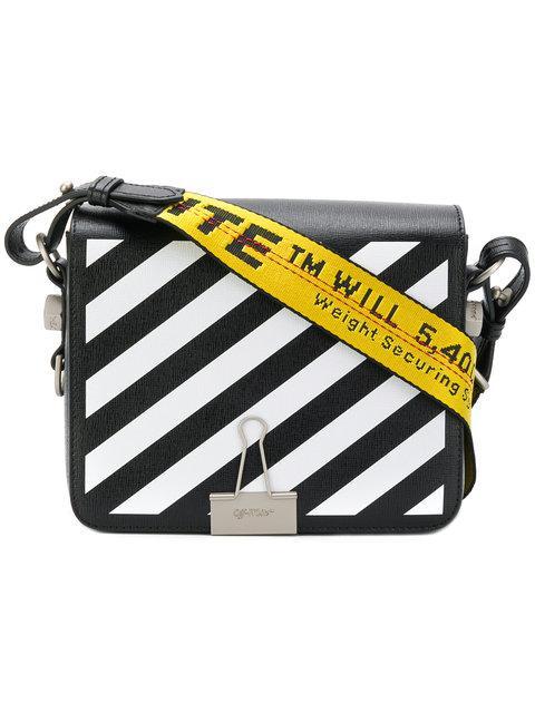 72ad421c0a8fb6 Off-White Black Diagonal Binder Clip Bag In Nero | ModeSens