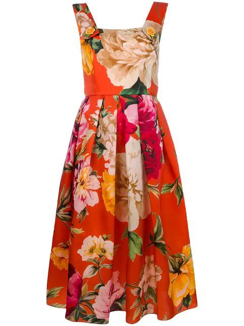dd93b113 Dolce & Gabbana Floral Print Silk Organza Tea Length Dress In Orange ...