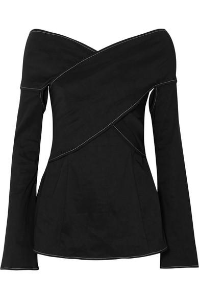 Beaufille Prima Off-The-Shoulder Stretch Linen-Blend Blouse In Black