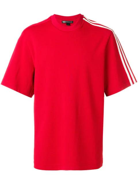 Y-3 Three Stripe Crew Neck T-shirt In Red