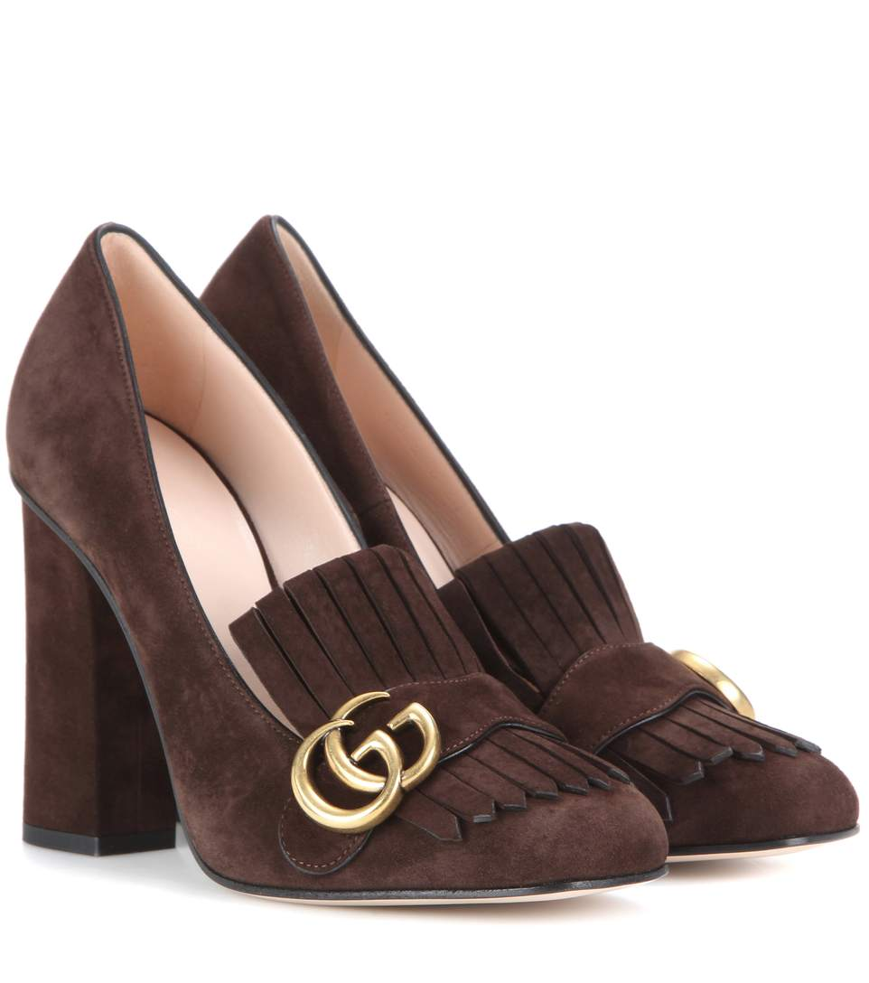 0ea1d13a0ee Gucci Marmont Fringed Pumps 105 In Dark Brown Suede