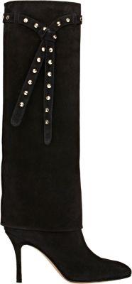 Valentino Studded-Strap Knee Boot, Nero In Black