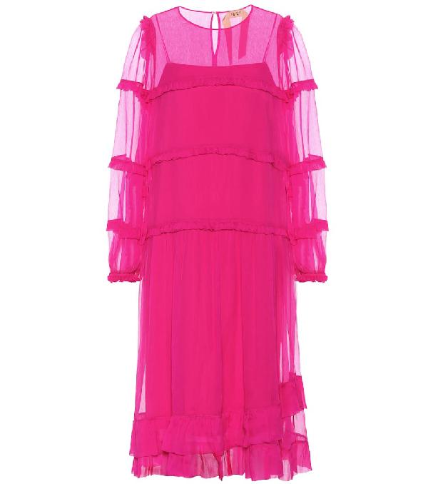 N°21 Tiered Silk-Chiffon Dress In Pink