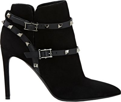 Valentino 'Noir Rockstud' Pointy Toe Bootie (Women) In Black