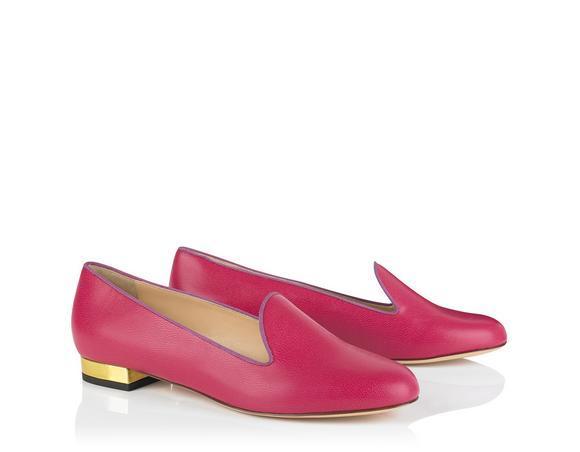 Charlotte Olympia Abc Customizable Leather Flats In Calfskin%2Fgrosgrain_656_Magenta