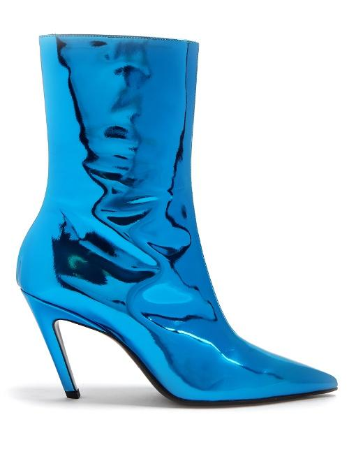 Balenciaga Talon Mirrored Leather Ankle Boots In Blue