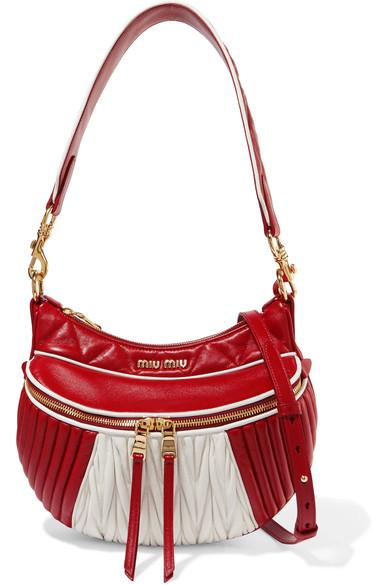 020b4000144 Miu Miu Quilted And MatelassÉ Leather Shoulder Bag In Red. NET-A-PORTER