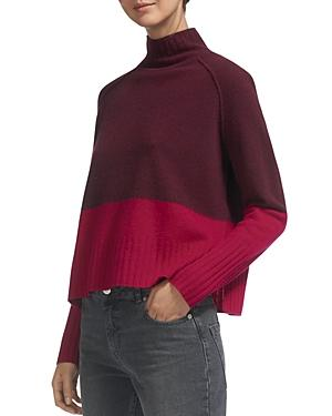 Whistles Two-Tone Color-Blocked Wool Sweater In Fig