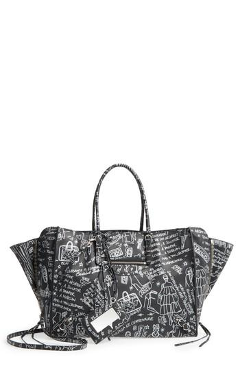 9c28674a7947 Balenciaga Papier Animation Zip-Around Leather Handbag In Noir  Argent