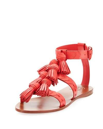 44d28ec5d6fa Tory Burch Weaver Leather Tassel Sandal In Nantucket Red