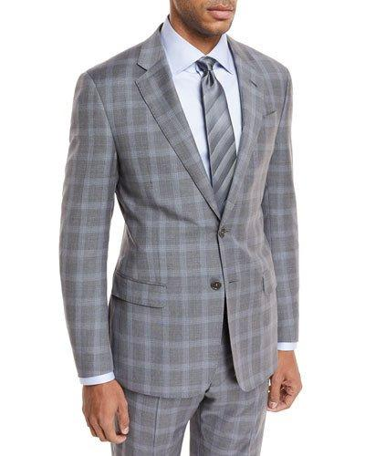 Giorgio Armani Plaid Wool Two-Piece Suit In Light Gray