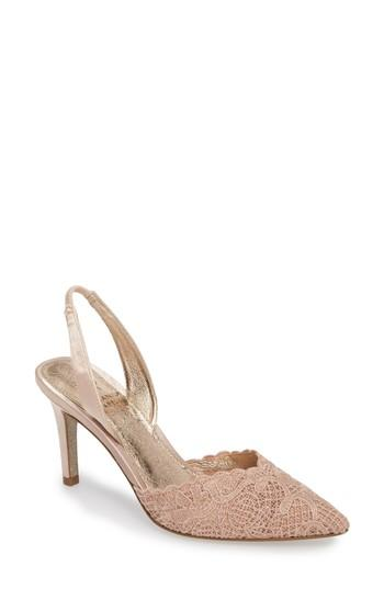 66b77807823 Adrianna Papell Hallie Slingback Pump In Blush Attalie Lace Fabric ...