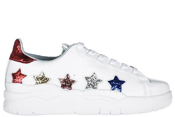 Chiara Ferragni White Leather Laced Roger Sneakers With Glitter Multicolor Stars