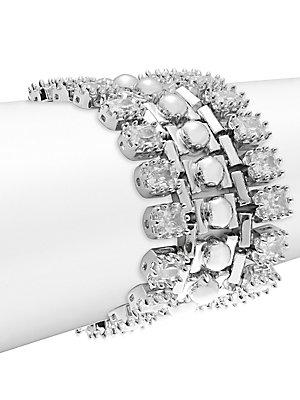 Eddie Borgo Dome Estate Crystal Bracelet In Silver