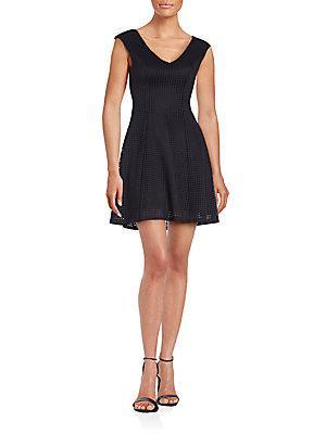 Saks Fifth Avenue Knit V-neck Fit & Flare Dress In Black