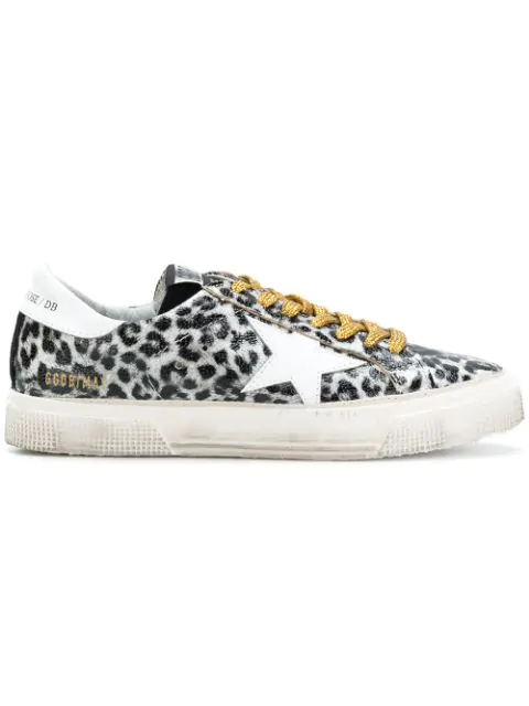 a12168fe1595 Golden Goose Leopard Print Leather May Sneakers In Black | ModeSens
