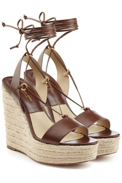 Michael Kors Leather Espadrille Wedge Sandals In Brown