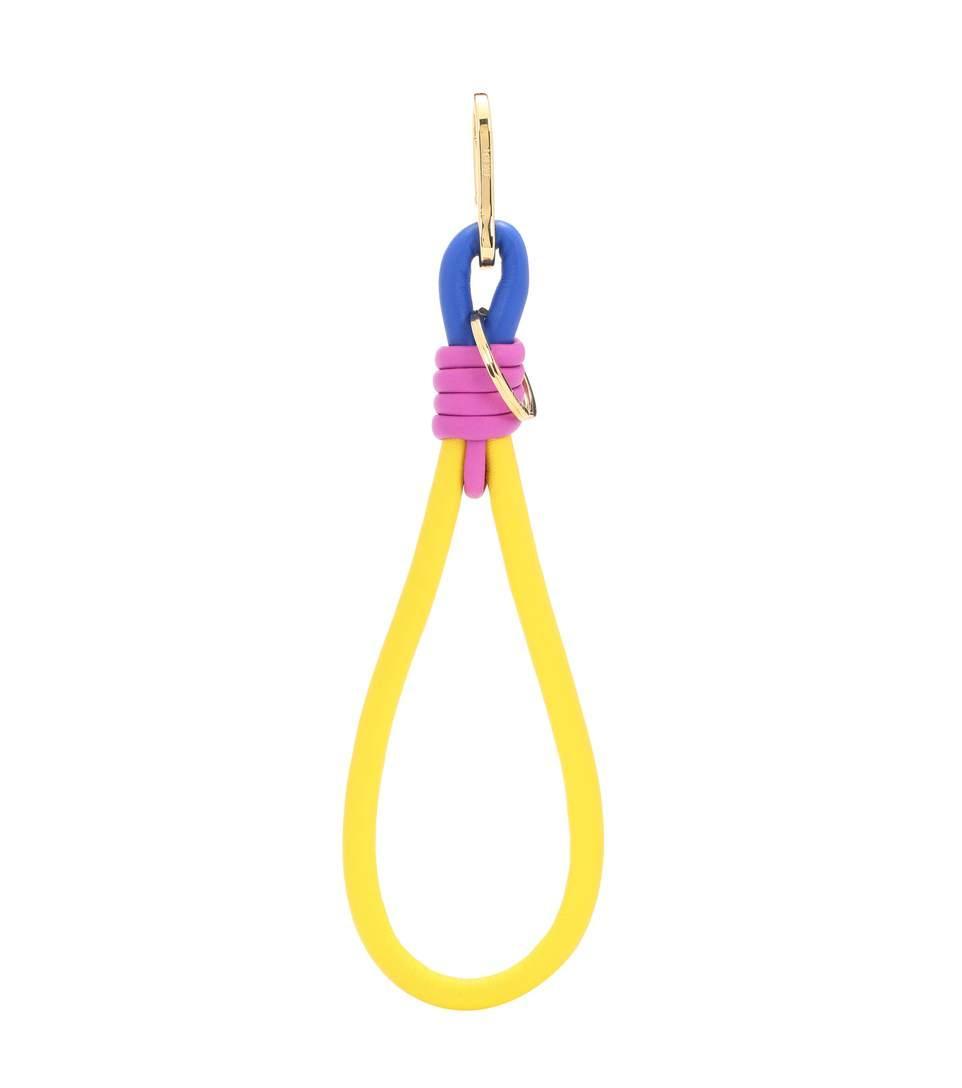 Loewe Handle Knot Leather Bag Charm In Yellow