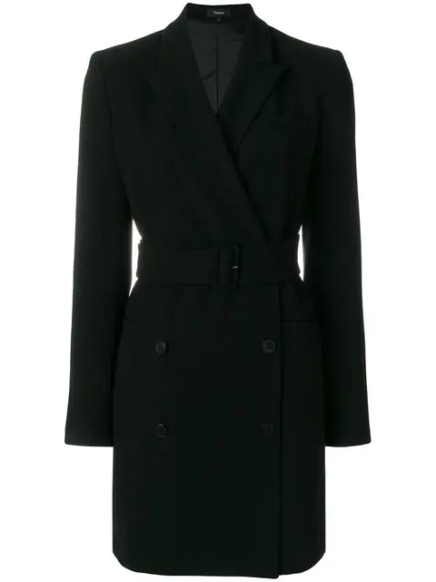 ecc8a2955d Theory Double-Breasted Belted Admiral Crepe Blazer Dress In Black ...