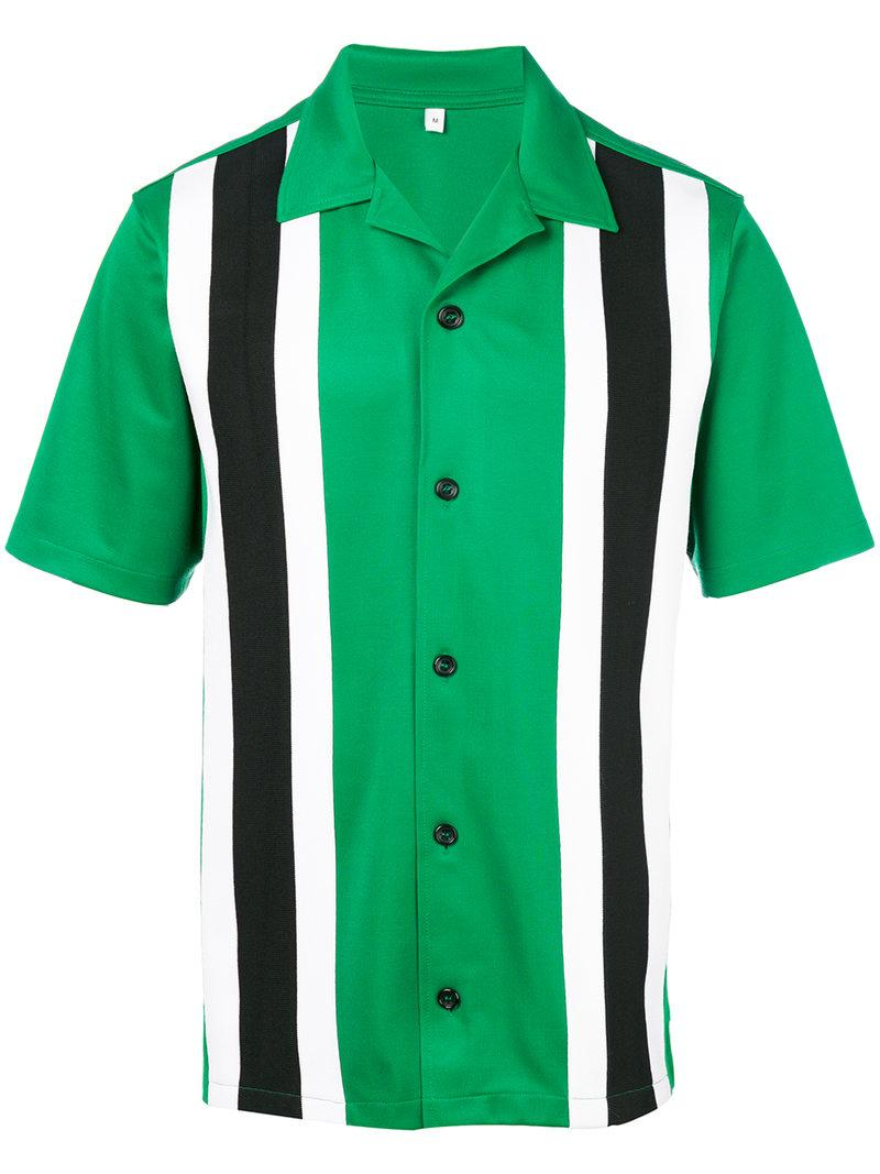 Ami Alexandre Mattiussi Camp-collar Striped Jersey Shirt In Green/black