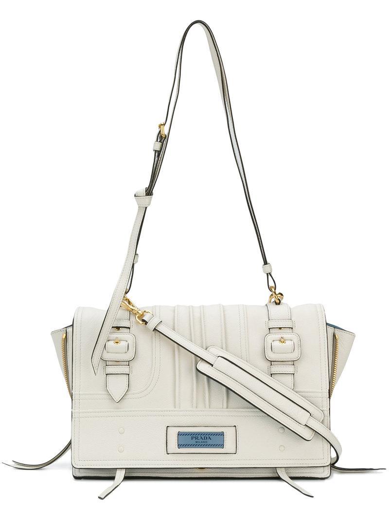 f5175184d9 Prada Medium Etiquette Patch Shoulder Bag In White