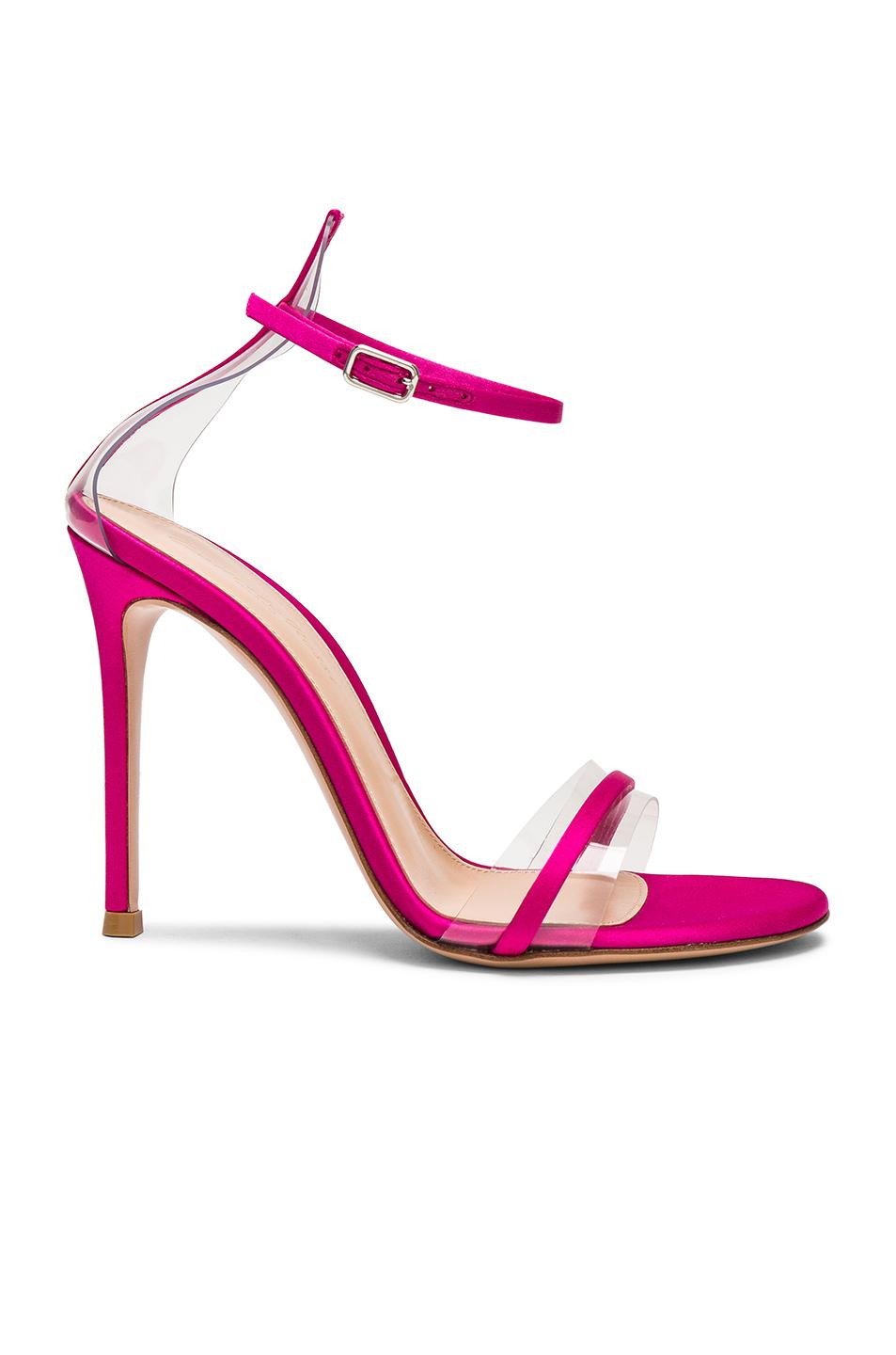 1efb0a0e5 Gianvito Rossi Satin Plexi G String Heels In Pink