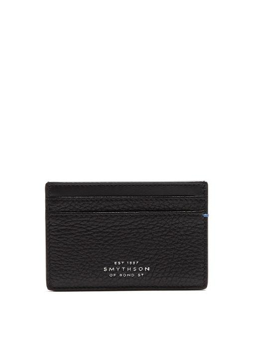 Smythson Burlington Grained-Leather Cardholder In Black