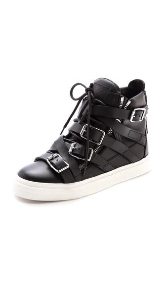 Giuseppe Zanotti London Buckles Leather Sneakers In Black