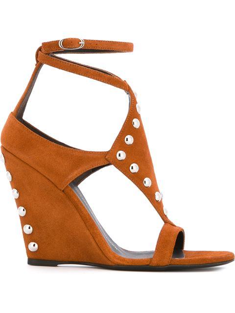 Giuseppe Zanotti Studded Wedge Sandals In Brown