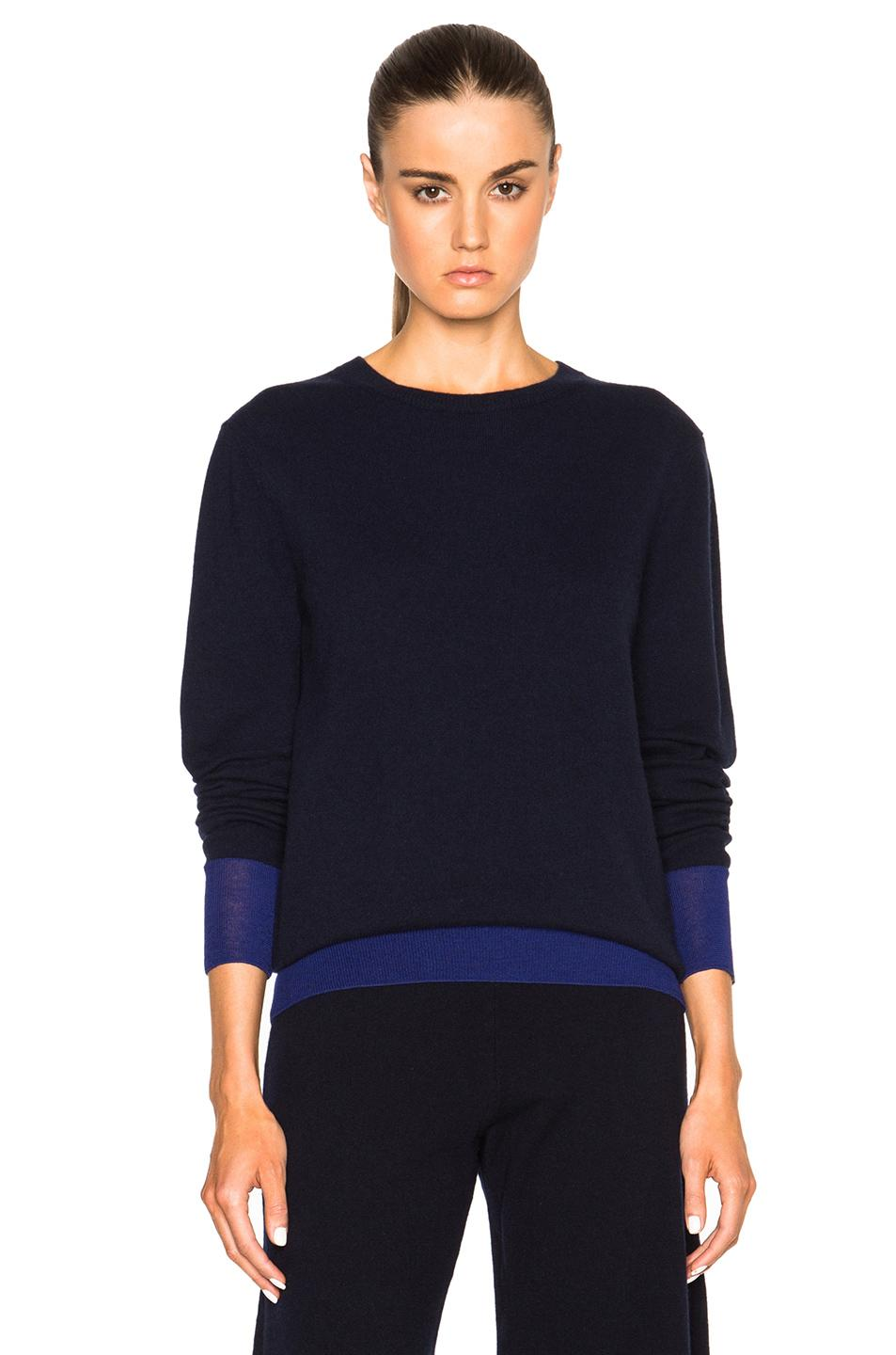 Victoria Beckham Cashmere Silk Trim Crewneck Sweater In Blue