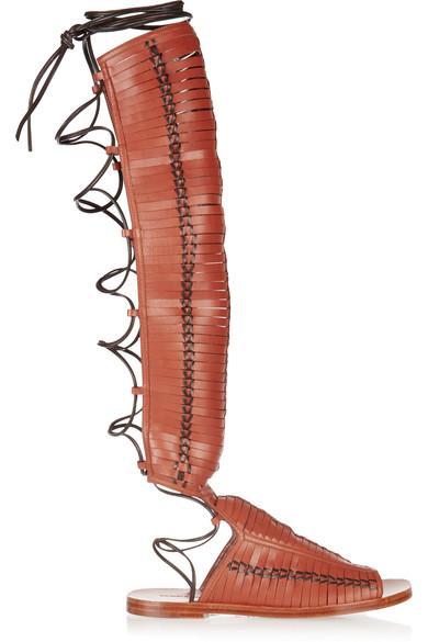 Daniele Michetti Laser-Cut Leather Gladiator Sandals In Brown