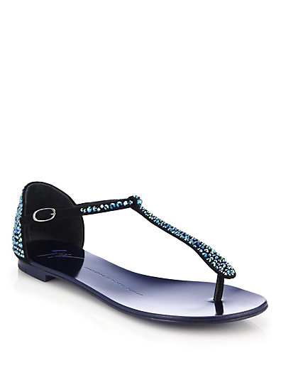 Giuseppe Zanotti 'Rock' Crystal PavÉ Suede Thong Sandals In Black/ Blue