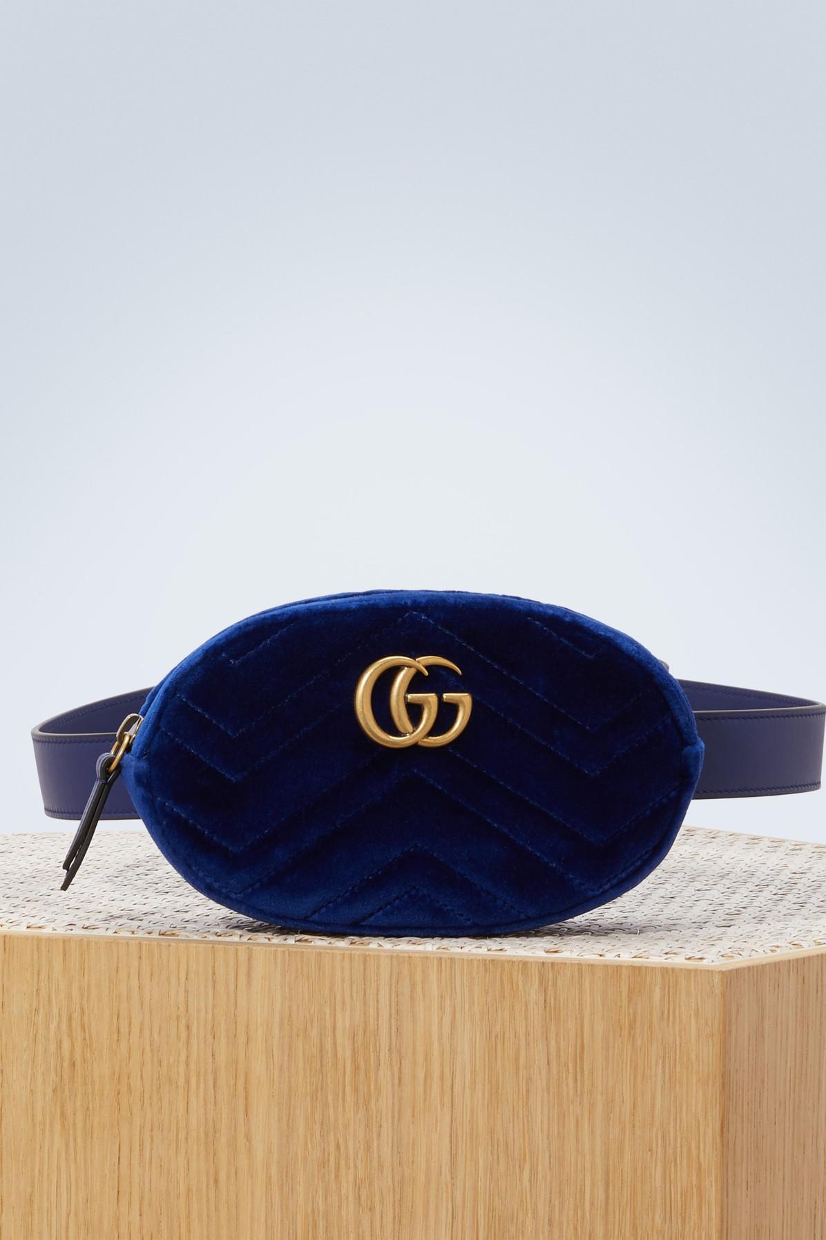 88c095f8c5b Gucci Gg Marmont MatelassÉ Velvet Belt Bag In Cobalt