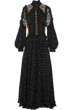 Elie Saab Lace-Paneled Polka-Dot Silk-Blend Chiffon Gown In Black