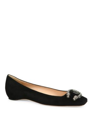 cc165a5fe63 Gucci Dionysus Embellished Square Toe Flat In Black