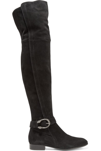 Gucci Flat Suede Boots With Tiger Head Closure In Black