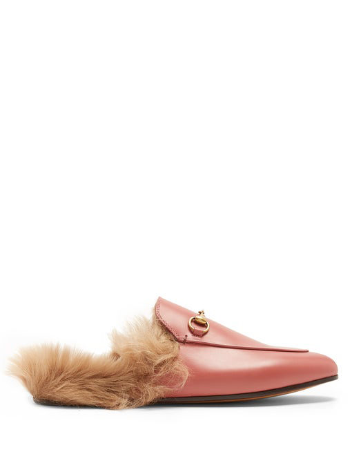 d31c406ca Gucci Princetown Horsebit-Detailed Shearling-Lined Leather Slippers In Pink