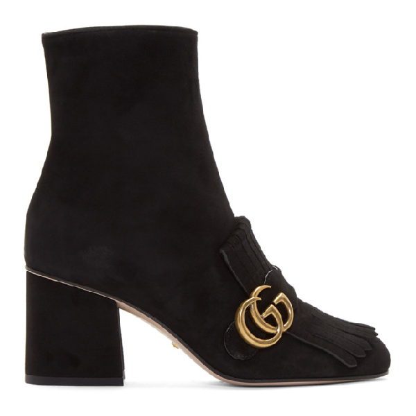 11f506a4a39e Gucci Marmont Fringed Logo-Embellished Suede Ankle Boots In Black ...