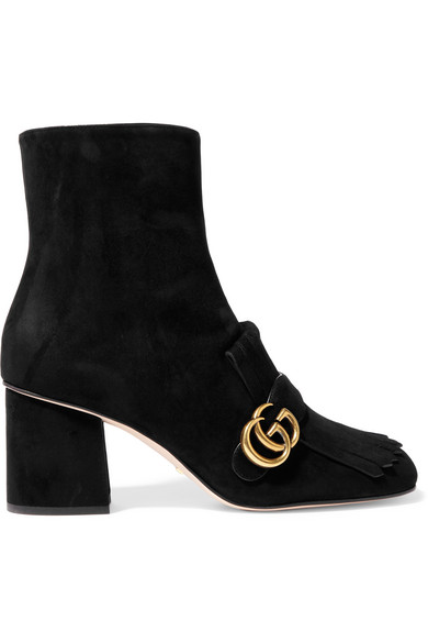 Gucci Marmont Fringed Logo-Embellished Suede Ankle Boots In Black