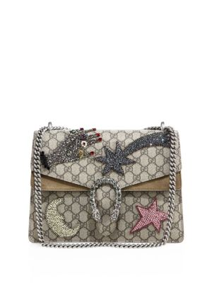 b8493e86a35f Gucci Dionysus Medium Gg Supreme Sequin-Embroidered Shooting Star Bag In  Beige-Multi