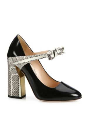 18f11855377 Gucci Nimue Bow Patent Leather   Snakeskin Mary Jane Block-Heel Pumps In  Black